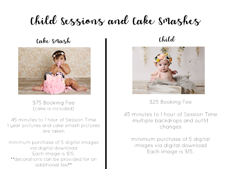 Cake Smash and Child Session pricing in Reno Nevada