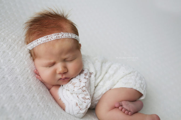 Reno nevada newborn photographer baby in lace outfit