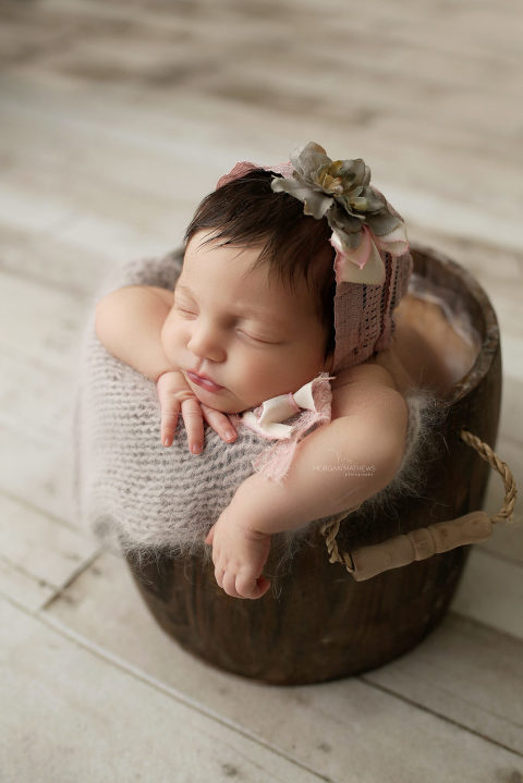 Reno newborn photography baby in a bucket